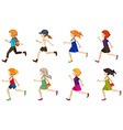 Faceless kids running vector