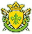Heraldic shield ribbons crown and sword vector