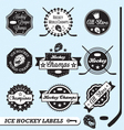 Hockey champs labels vector