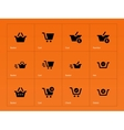 Checkout icons on orange background vector