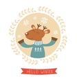 Hello winter card with cute deer boy portrait vector