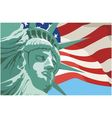 Statue of liberty in new york usa flag vector