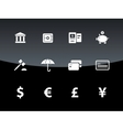 Banking icons on black background vector