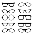 Glasses and sunglasses silhouettes vector