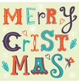 Merry christmas card with handwritten letters vector