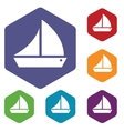 Ship rhombus icons vector