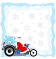 Santa on a motorcycle vector