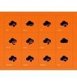 Cloud icons on orange background vector
