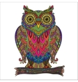 Print beautiful decorative owl with a lot vector