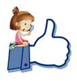 Cartoon girl like thumb vector