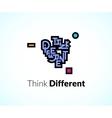 Think different phrase graffiti logo sign concept vector