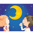 Kids at night with moon vector