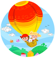 Boy and girl in hot air balloon vector