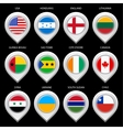 Map marker with flag-set eghth vector