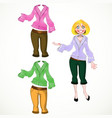 Girl in breeches and warm sweater varicolored vector