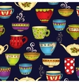 Tea coffee and sweets doodle seamless pattern vector