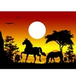 Horse silhouettes with landscape background vector