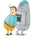 Man repairing robot vector