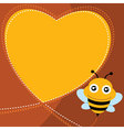 Flying bee and heart shape vector