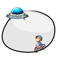 A round empty template with a flying saucer and a vector