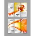 Globe wave tech tri-fold brochure vector