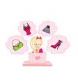 Online shopping girl vector