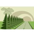 Road fir trees sky papercraft vector