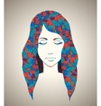 Abstract girl portrait with floral ornament vector
