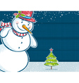 Background with snowman and one christmas tree vector