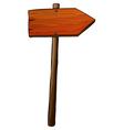A signboard arrow made of wood vector