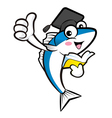 Doctors fish mascot the left hand best gesture and vector