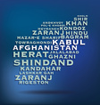 Afghanistan map made with name of cities vector