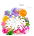 Background with summer flowers and watercolors-04 vector