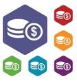 Money rhombus icons vector