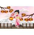 Cartoon japanese girl vector