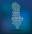 Albania map made with name of cities vector