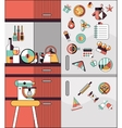 Kitchen interior flat line vector