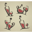Red wine bottle and glasses vector