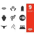 Black sex icons set vector
