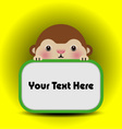 Baby monkey with place your text here vector