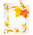 Autumn background with colorful leaves and gold vector