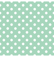 Seamless white polka dots pattern mint background vector