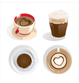 Four cups of coffee vector