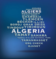 Algeria map made with name of cities vector