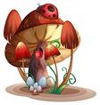 A mushroom with a ladybug vector