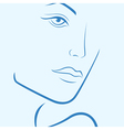 Female laconic heads outline in blue vector