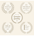 Quality emblems with laurel wreath vector