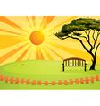 Sunny park bench vector