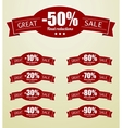 Great sale tags with 10 - 90 percent text vector