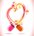 Opened red color pill with abstract heart vector